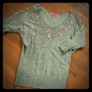 Grey Sweater with Sequin Accents